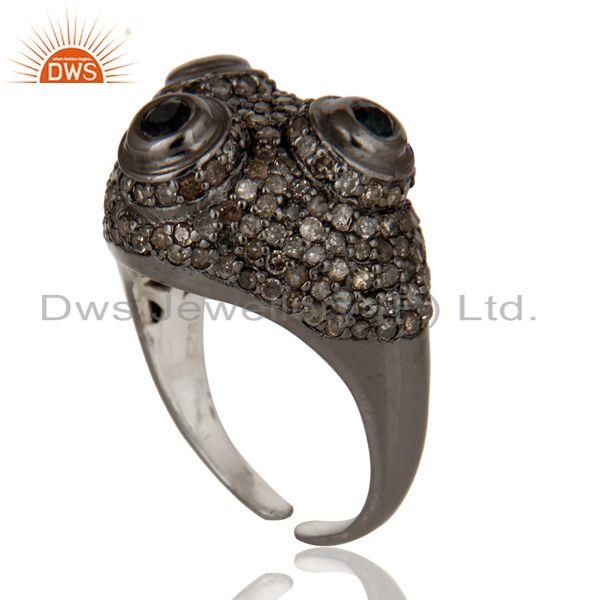 Exporter Pave Diamond and Blue Sapphire Victorian Estate Style Sterling Silver Ring
