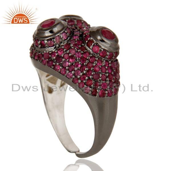 Exporter Pave Setting Ruby Birthstone Victorian Estate Style Sterling Silver Ring