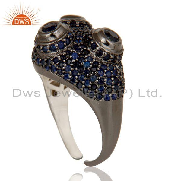 Exporter Pave Blue Sapphire Birthstone Victorian Estate Style Sterling Silver Ring