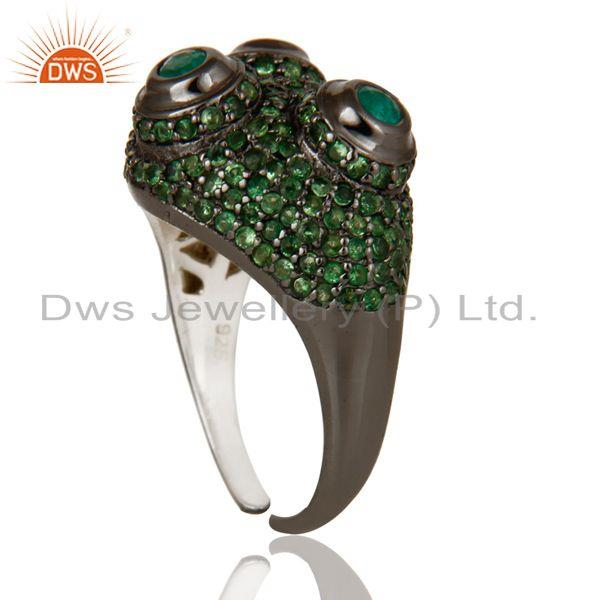 Exporter Pave Tsavourite and Emerald Victorian Estate Style Sterling Silver Ring