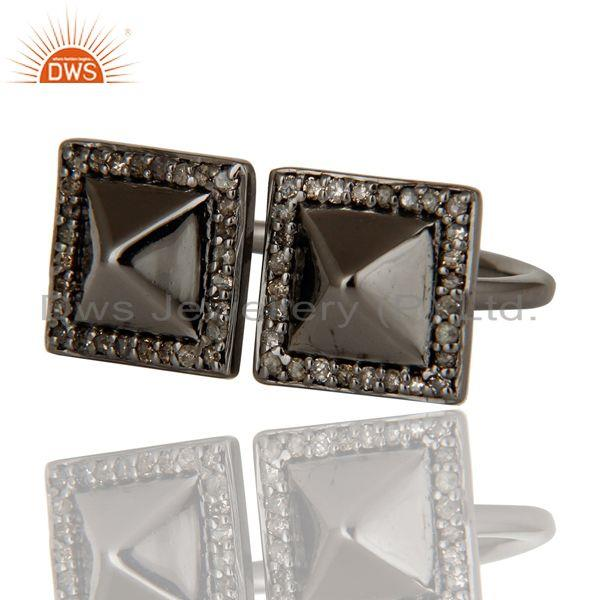 Exporter Pave Diamond Black Oxidized Sterling Silver Pyramid Shape Ring Statement Ring