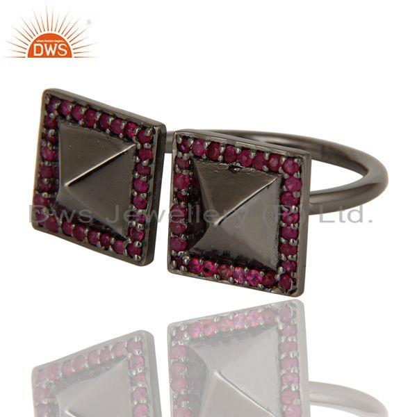 Exporter Natural Ruby Black Oxidized Sterling Silver Pyramid Shape Ring Statement Ring