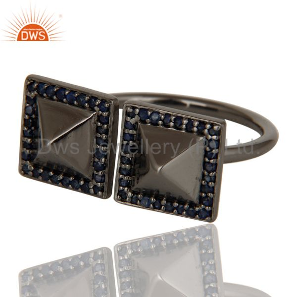 Exporter Blue Sapphire Black Oxidized Sterling Silver Pyramid Shape Ring Statement Ring