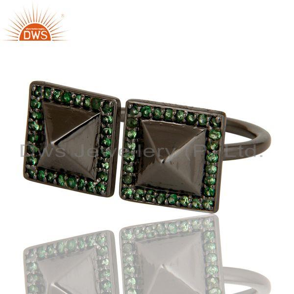 Exporter Tsavourite Black Oxidized Sterling Silver Pyramid Shape Ring Statement Ring