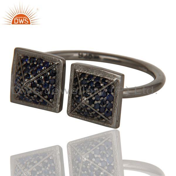 Exporter Black Oxidized Sterling Silver Blue Sapphire Pyramid Shape Ring Statement Ring