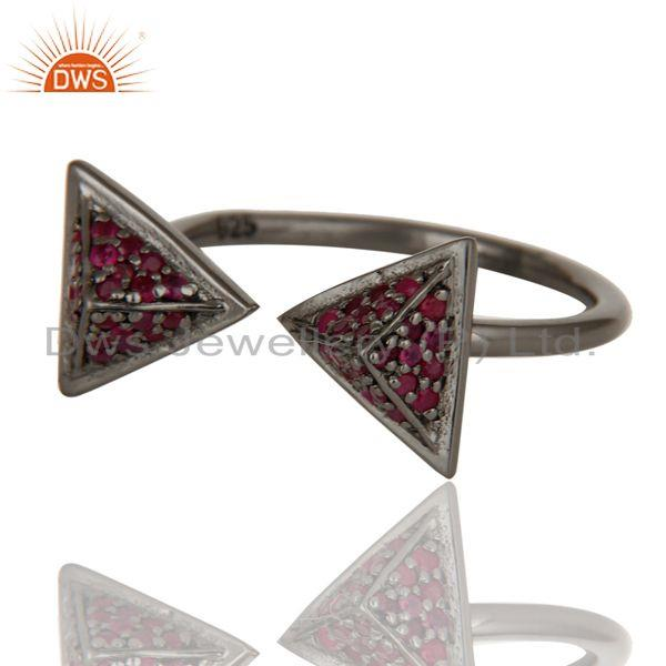 Exporter Black Oxidized Natural Ruby Sterling Silver Pyramid Shape Ring Statement Ring