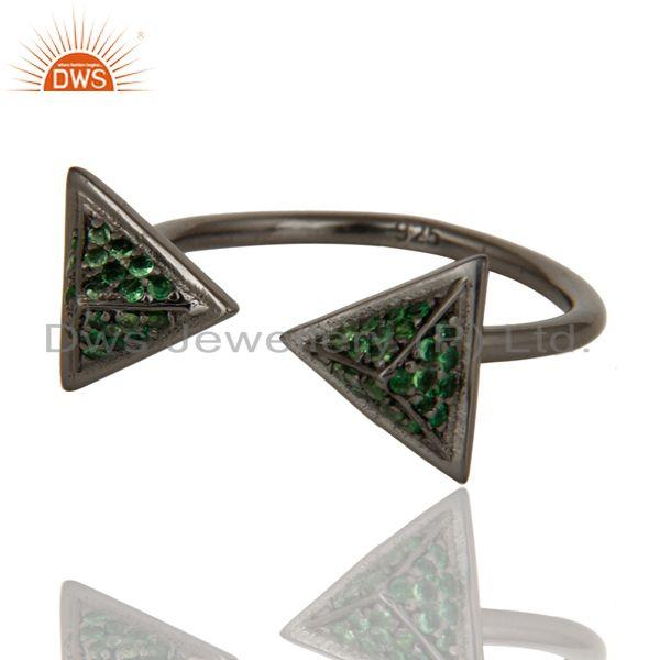 Exporter Black Oxidized Tsavourite Sterling Silver Pyramid Shape Ring Statement Ring