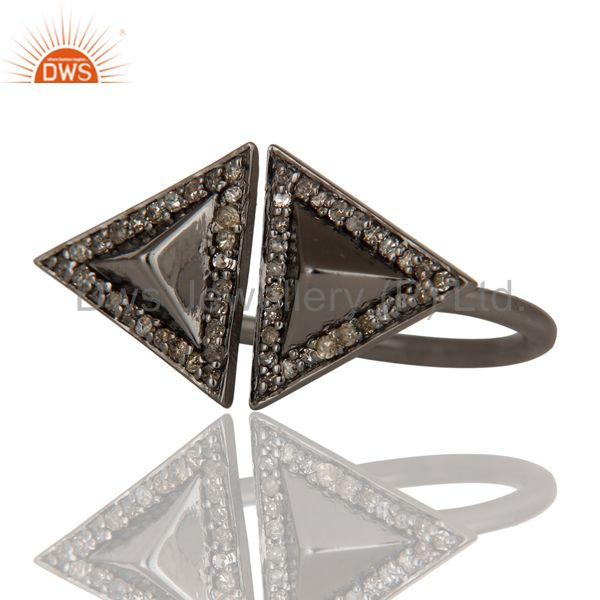 Exporter Pave Diamond Sterling Silver Black Oxidized Pyramid Shape Ring Statement Ring