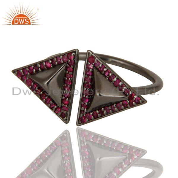 Exporter Natural Ruby Sterling Silver Black Oxidized Pyramid Shape Ring Statement Ring