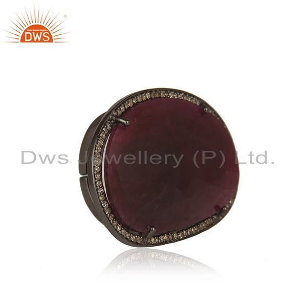 Exporter Natural Ruby and Pave Diamond Black Oxidized Sterling Silver Ring