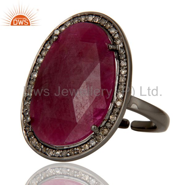 Exporter Pave Diamond and Natural Ruby Black Oxidized Sterling Silver Adjustable Ring
