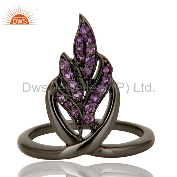 Exporter Oxidized Sterling Silver and Amethyst Gemstone Ring Beautiful Designer Jewelry