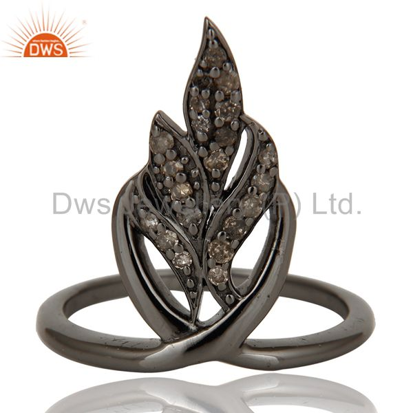 Exporter Oxidized Sterling Silver and Diamond Ring Beautiful Designer Jewelry