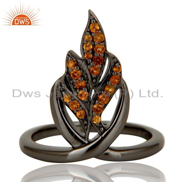Exporter Oxidized Sterling Silver and Spessartit Gemstone Ring Beautiful Designer Jewelry