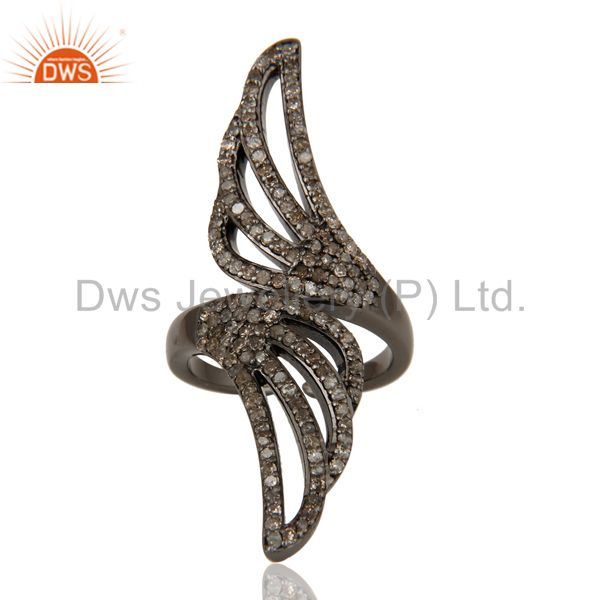 Exporter Pave Set Diamond Oxidized Sterling Silver Midi Ring