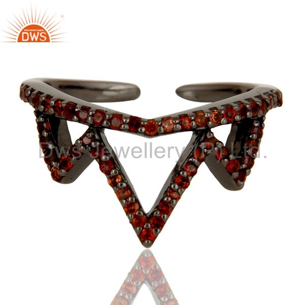 Exporter Garnet Sterling Silver Black Oxidized Crown Design Midi Ring