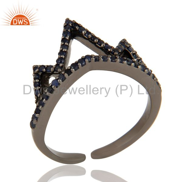 Exporter Blue Sapphire Sterling Silver Black Oxidized Crown Design Midi Ring