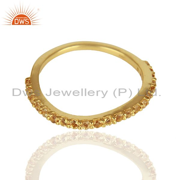 Exporter Citrine Gemstone Gold Plated Solid Silver Stackable Band Rings