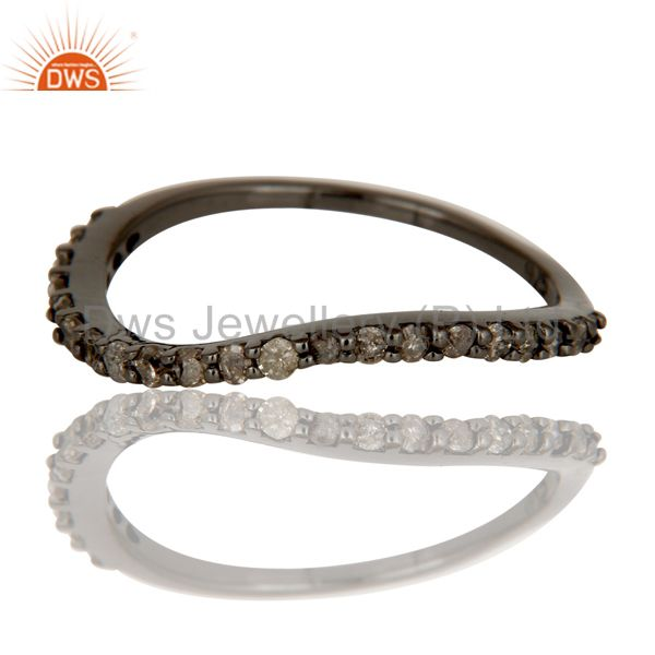 Exporter Pave Diamond Black Oxidized Sterling Silver Band Ring