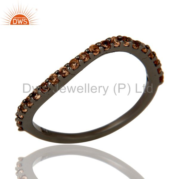 Exporter Pave Spessartite Black Oxidized Sterling Silver Band Ring