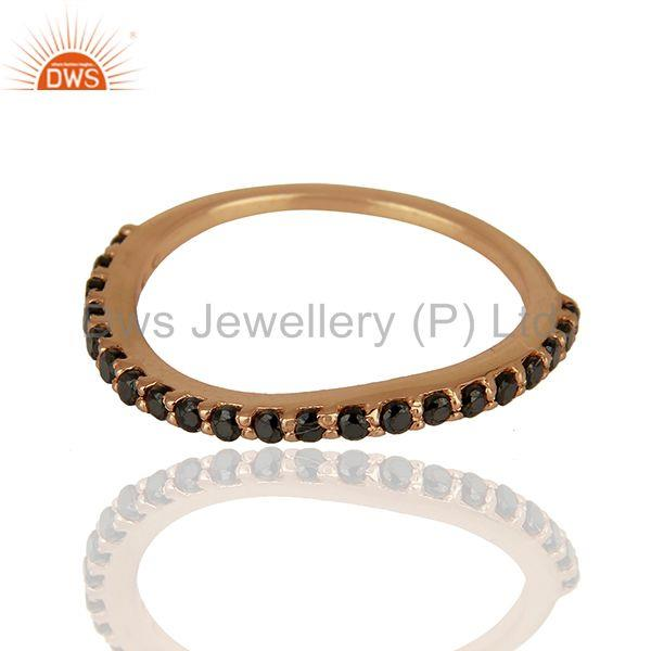 Exporter Rose Gold Plated Sterling Silver Black Zircon Gemstone Ring Wholesale