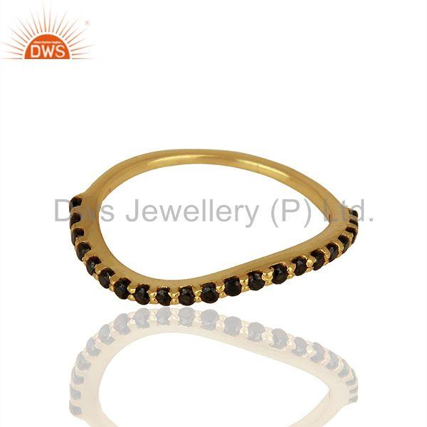 Exporter Gold Plated Silver Black Zircon Gemstone Girls Rings Jewelry Supplier