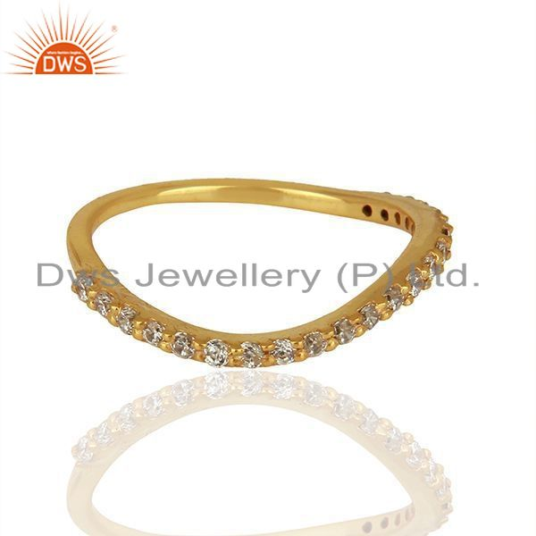 Exporter Zircon Gemstone Gold Plated 925 Silver Fashion Ring Manufacturer