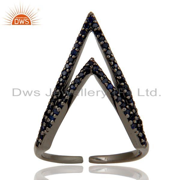 Exporter Blue Sapphire and Sterling Silver Black Oxidized Designer Midi Ring