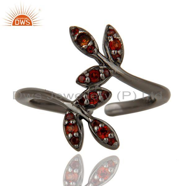 Exporter Pave Garnet Black Oxidized Solid Sterling Silver Midi Ring
