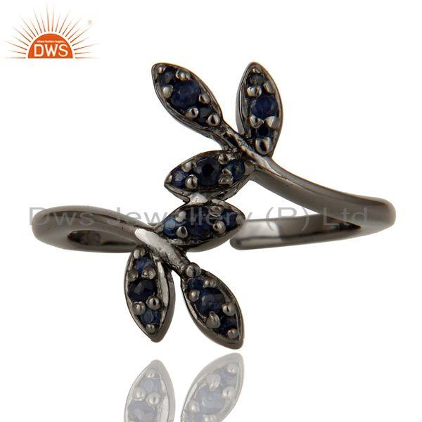 Exporter Blue Sapphire Black Oxidized Solid Sterling Silver Midi Ring