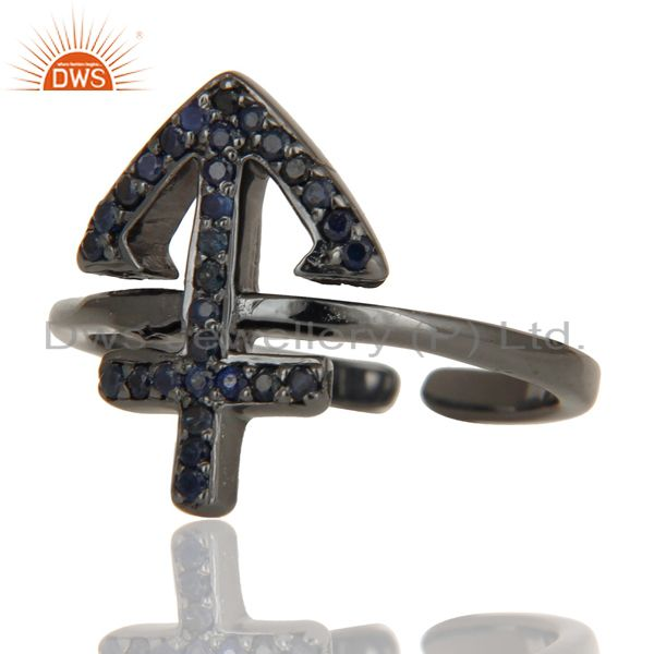 Exporter Black Oxidized Blue Sapphire Power Cross Sterling Silver Midi Ring