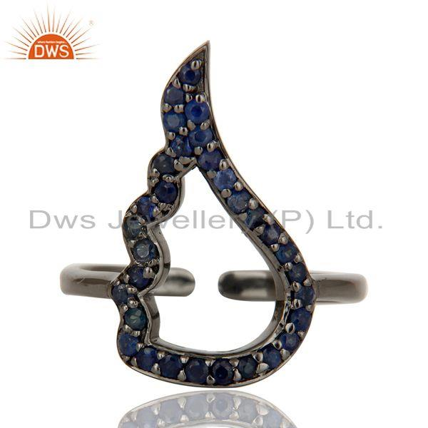 Exporter Blue Sapphire Black Oxidized Sterling Silver Midi Ring