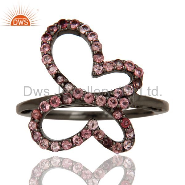 Exporter Pink Tourmaline and Black Oxidized Sterling Silver Butterfly Design Ring