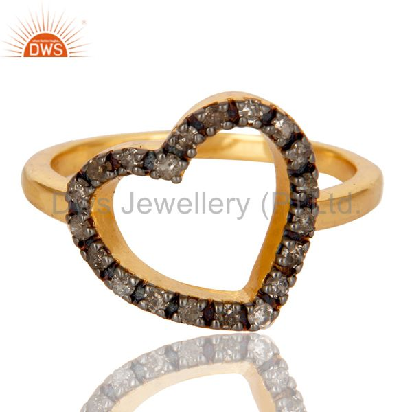 Exporter Stunning 18K Gold Plated 925 Sterling Silver Pave Diamond Heart Design Ring