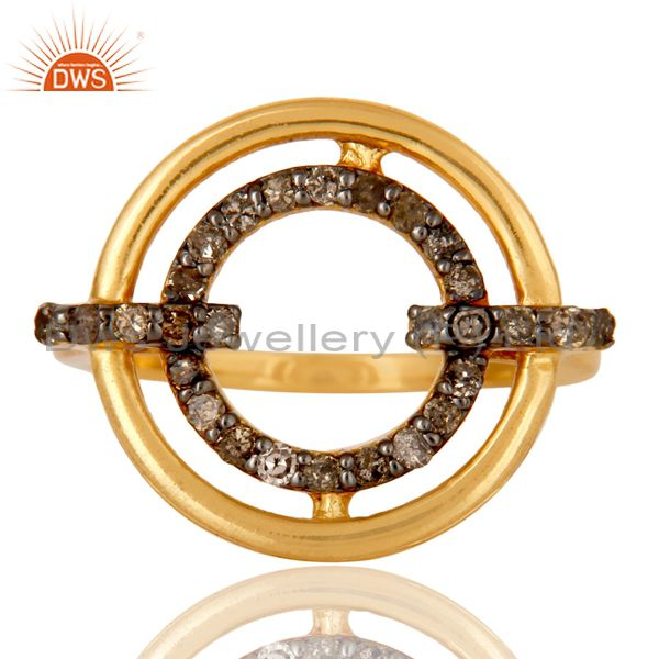 Exporter 18K Gold Plated 925 Sterling Silver Pave Diamond Ring Party Wear Jewelry