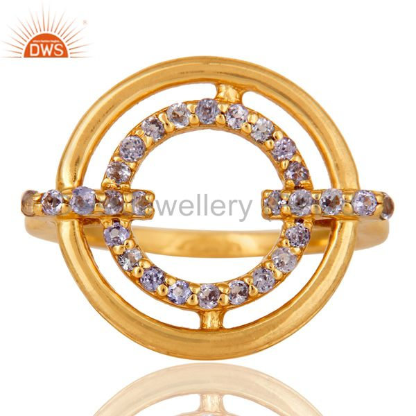 Exporter Tanzanite 18K Gold Plated Sterling Silver Stylish Gemstone Ring
