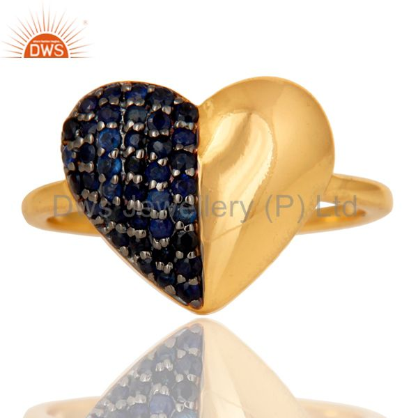 Exporter Blue Sapphire Heart Shape 18K Gold Plated Sterling Silver Love Ring