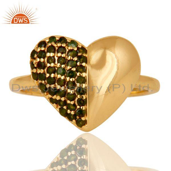 Exporter Heart Stylish 18K Gold Plated 925 Sterling Silver Green Tourmaline Ring Jewelry