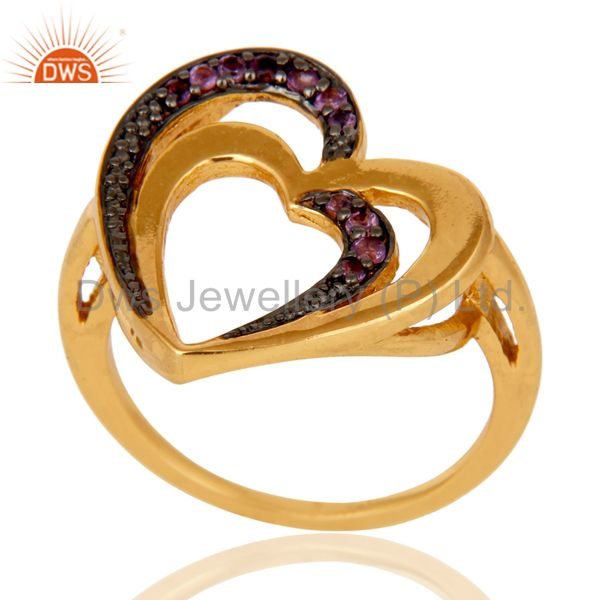 Exporter Amethyst 18K Gold Plated Heart Shape Sterling Silver Ring Love Jewelry