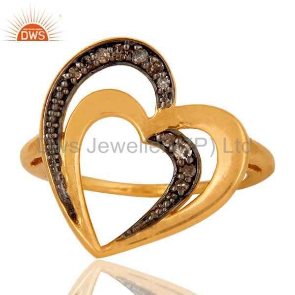 Exporter Diamond 18K Gold Plated Heart Shape Sterling Silver Ring Love Jewelry