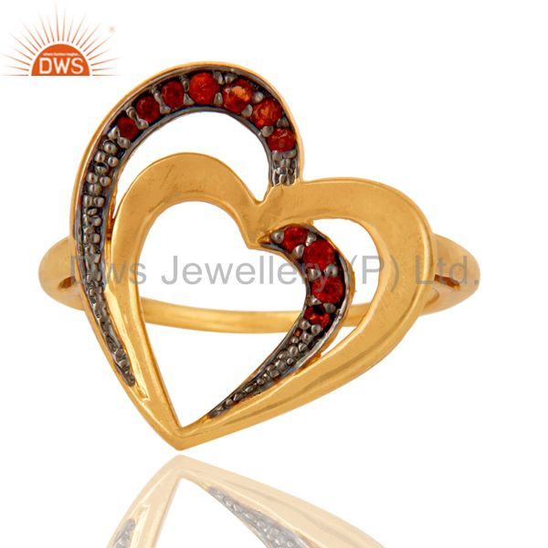 Exporter 18K Gold Plated 925 Sterling Silver Natural Garnet Heart Design Ring Jewelry