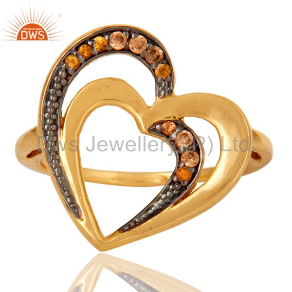 Exporter Spessartite 18K Gold Plated Heart Shape Sterling Silver Ring Love Jewelry