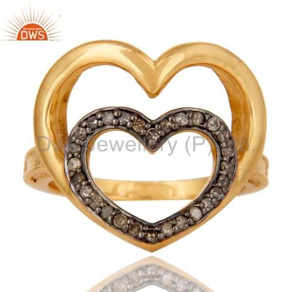 Exporter Heart Design 18K Gold Plated 925 Sterling Silver Pave Diamond Ring Jewelry