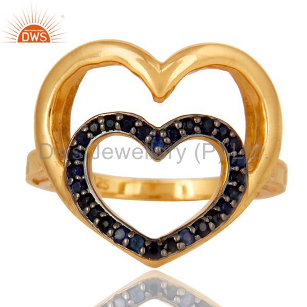 Exporter 18K Gold Plated Sterling Silver Blue Sapphire Heart Shape Ring Love Sign Ring