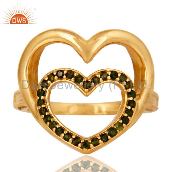 Exporter 18K Gold Plated Sterling Silver Green Tourmaline Heart Shape Ring Love Sign Ring