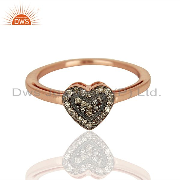Exporter Heart Shape Rose Gold Plated Pave Diamond Ring Supplier Jewelry
