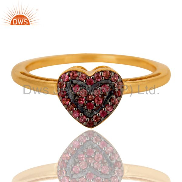 Exporter 18K Gold Plated 925 Sterling Silver Pink Tourmaline Ring Heart Design Jewelry