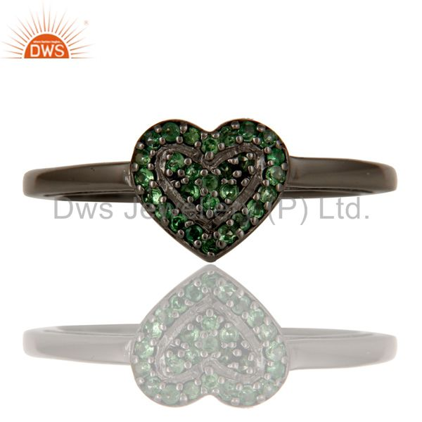 Exporter Tsavourite Heart Shape Love Ring Black Oxidized Sterling Silver Ring