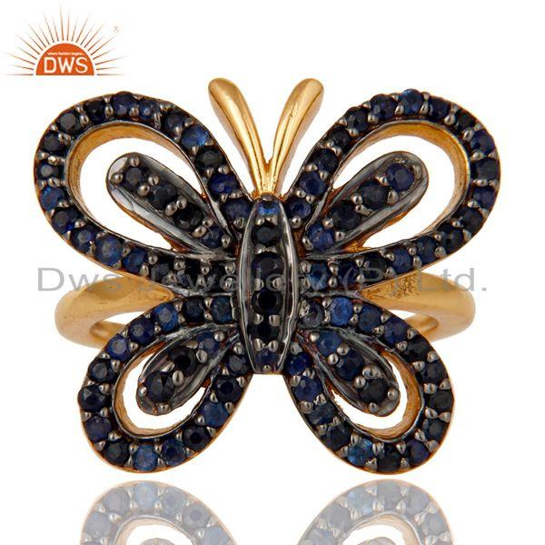 Exporter 18K Gold Plated Sterling Silver Blue Sapphire Butterfly Designer Ring
