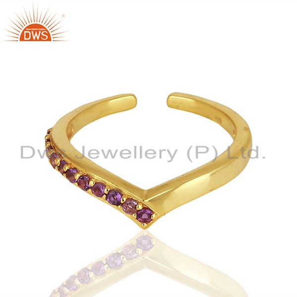 Exporter Amethsyt Birthstone Gold Plated 925 Silver Midi Rings Manufacturers